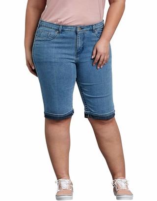 "Dickies Women's Plus Size Slim Fit 13"" Denim 5-Pocket Cargo Short"