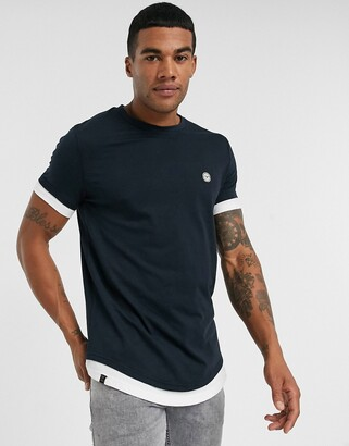 Le Breve double layer t-shirt-Navy