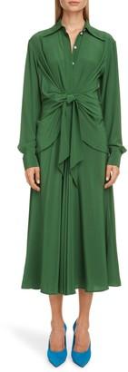 Victoria Beckham Tie Waist Long Sleeve Silk Crepe de Chine Midi Shirtdress
