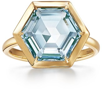 Tiffany & Co. Paloma's Studio hexagon ring in 18k gold with a blue topaz