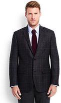 Classic Men's Tailored Wool Pattern Blazer-Navy Glen Plaid