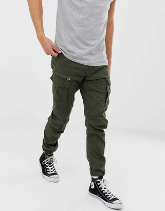 Jack and Jones slim fit cargo trousers in green