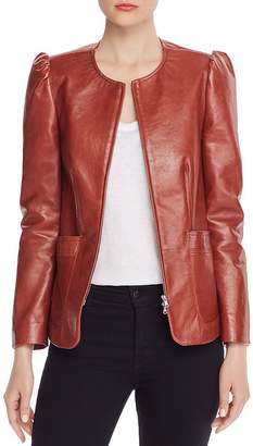 Rebecca Taylor Puffed-Shoulder Leather Jacket