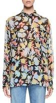 Chloé Fruit-Print Long-Sleeve Silk Blouse, Multi