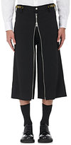 Ganryu Men's Wool Gabardine Wide-Leg Trousers-BLACK