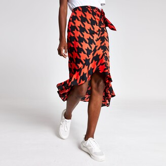 River Island Womens Red dogtooth check frill midi skirt