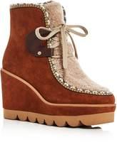 See by Chloe Women's Klaudia Suede & Shearling Platform Wedge Booties