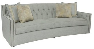 "Bernhardt Candace 96"" Square Arm Sofa Body Fabric: 2909-043, Nailhead Detail: Antique Nickel, Throw Pillow Fabric 1: 2909-043, Throw Pillow Fabric 2:"
