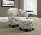 Monarch Specialties I 8058 Vintage French Fabric Accent Chair and Ottoman