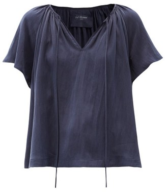 Loup Charmant Paloma Tie-neck Hammered-silk Blouse - Navy