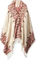 Woolrich Women's Birch Ikat Button Wrap Poncho