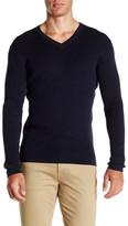 Save Khaki Long Sleeve Rib V-Neck Sweater