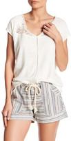 Susina Crochet Inset Linen Blend Shirt (Petite)