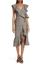 Self-Portrait Women's Check Wool Faux Wrap Dress