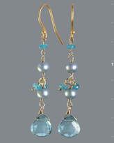 blue topaz briolette linear earrings