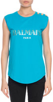 Balmain Button-Shoulder Logo Muscle Tee, Turquoise
