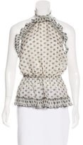 Anna Sui Silk Abstract Print Top