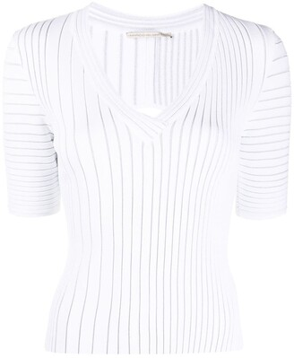 Marco De Vincenzo Ribbed Short-Sleeve Top