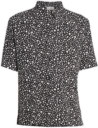 Saint Laurent Pebble-Print Short-Sleeve Shirt