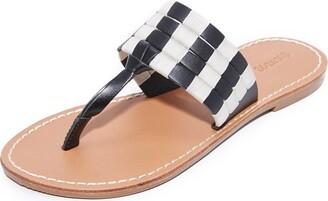 Soludos Women's Multi Band Thong Sandal Flat Black 10 B US