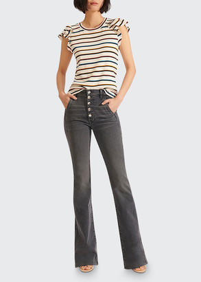 Veronica Beard Priscilla Striped Ruffle-Sleeve Top