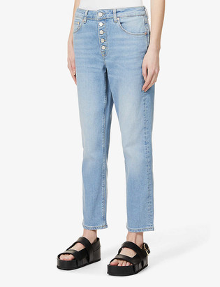 Reiss Bailey cropped straight-leg mid-rise stretch-denim jeans