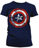 Marvel Women's Captain America Distressed Logo T-Shirt:
