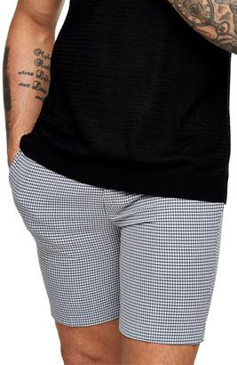 Topman Seersucker Check Stretch Skinny Shorts