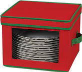 Household Essentials Red Holiday Dinner Plate Storage Chest