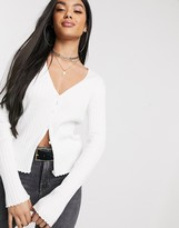 NA-KD Na Kd ribbed buttoned cardigan in off white
