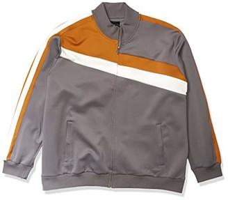 Sean John Men's Long Sleeve Full Zip Color Blocked Faux Suede Track Jacket
