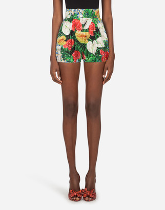 Dolce & Gabbana Twill Shorts With Maiolica And Laceleaf Print