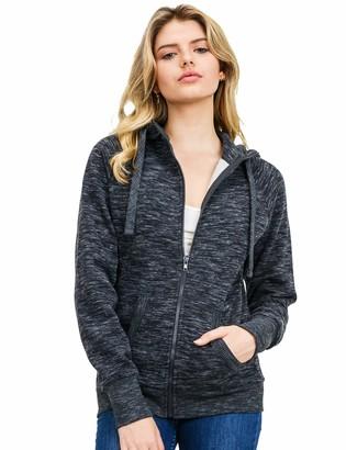 Esstive Women's Ultra Soft Fleece High Neck Casual Solid Midweight Zip-Up Hoodie Jacket