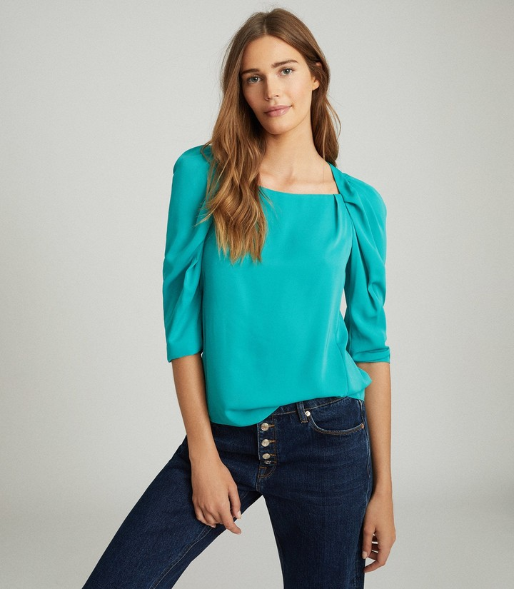 Reiss ISABELLE RUCHED SLEEVE STRAIGHT NECK TOP Teal
