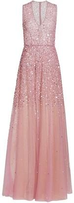 Reem Acra Sleeveless Sequin Degrade V-Neck Gown