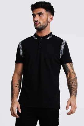 BoohoomanBoohooMAN Mens Black MAN Tape Detail Polo, Black