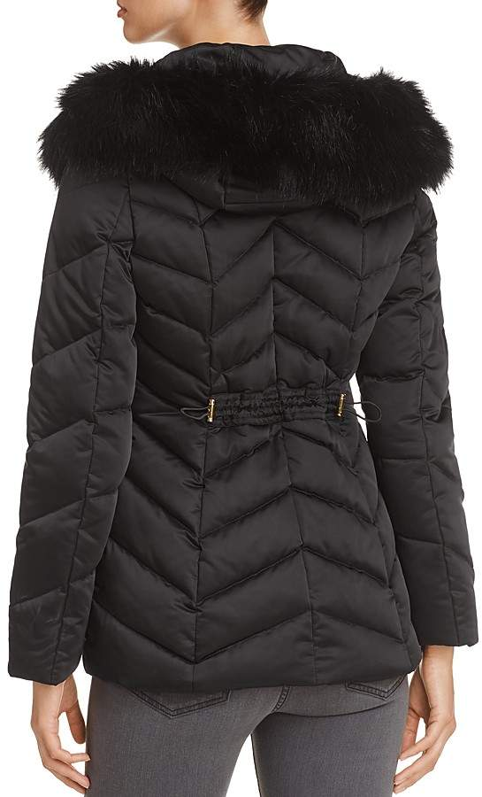 T Tahari Paris Faux Fur Trim Puffer Coat