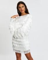 Missguided Tassel V-Back Fringe Shift Dress