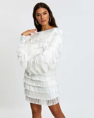 Missguided Tassel V-Back Fringe Shift Dress