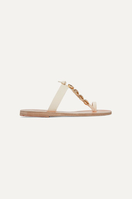 Ancient Greek Sandals Iris Embellished Leather Sandals - Off-white