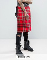 Reclaimed Vintage Inspired Kilt In Red Tartan