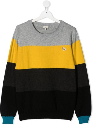 Paul Smith TEEN panelled colour-block jumper