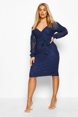 boohoo Plus Lace Off The Shoulder Midi Dress