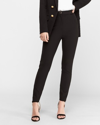 Express Super High Waisted Gold Rim Button Skinny Pant