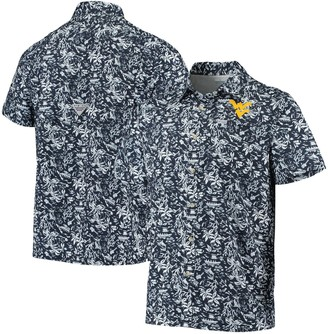 Men's Columbia Navy West Virginia Mountaineers Super Slack Tide Button-Up Shirt