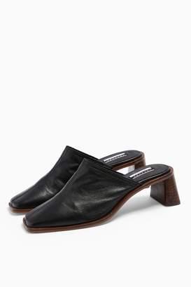 Topshop Womens Juke Leather Black Mules - Black