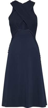 Jonathan Simkhai Crossover Faille-paneled Lace-up Crepe Dress