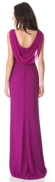 Notte by Marchesa Ruched Silk Gown with Applique