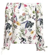 Bailey 44 Off-the-shoulder Floral-print Satin-twill Top