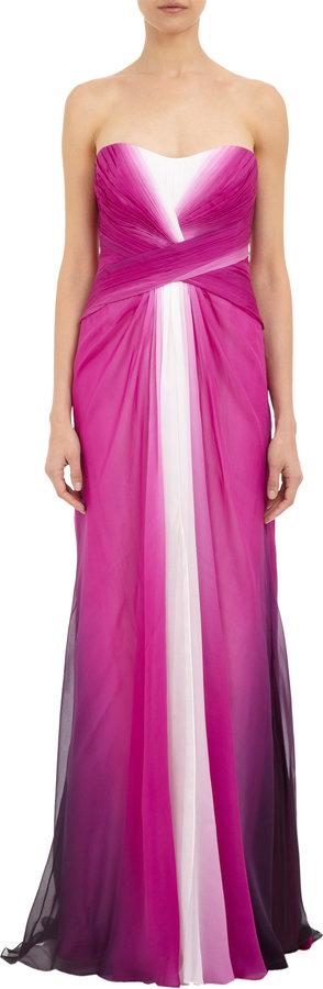 Monique Lhuillier Strapless Ombré Gown